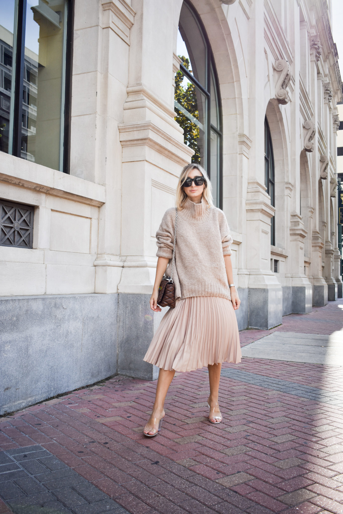 Beige Oversized Sweater and Pleated Skirt - Casiraghi Style
