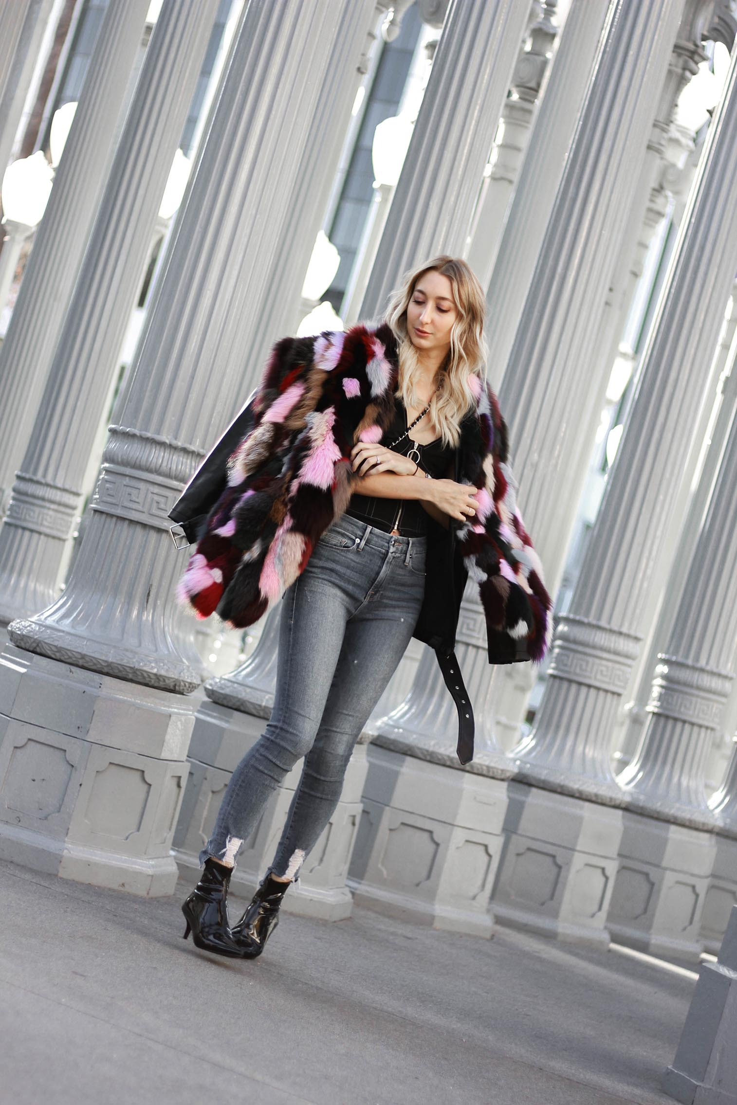 faux fur winter look