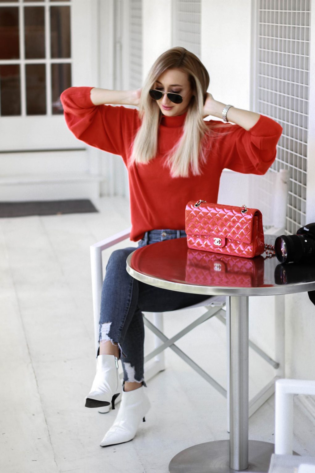 Red Sweater Outfit and Tea at Alfred's Tea Room