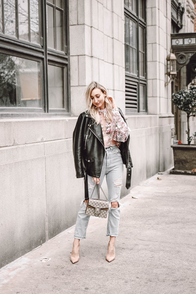 Best High Waist Jeans + A Floral Sheer Blouse for Spring