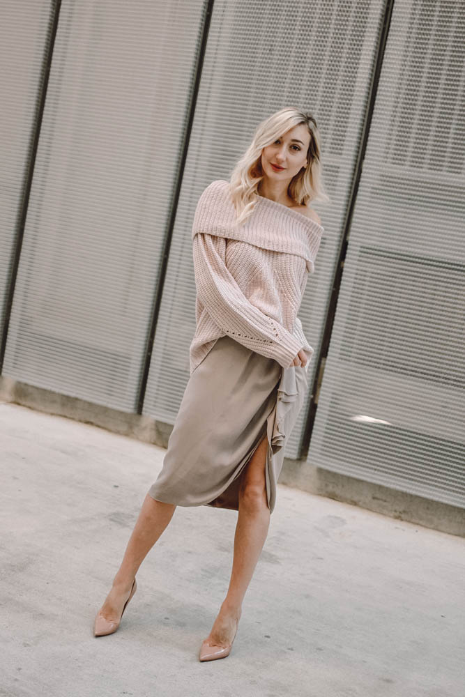 Romantic and Cozy Off the Shoulder Valentine's Day Look